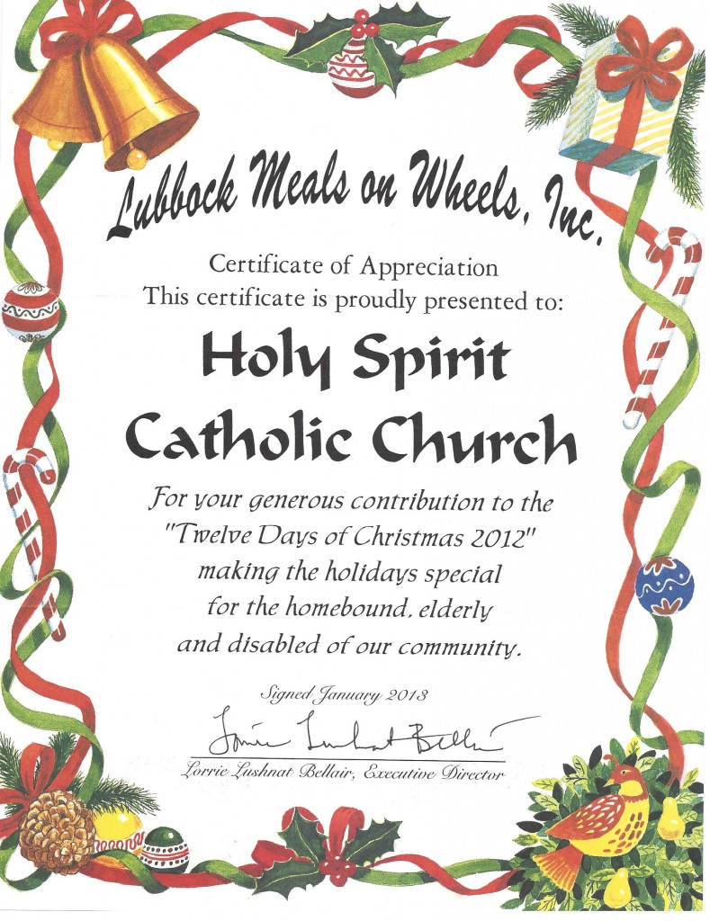 Meals On Wheels Certificate The Roman Catholic Diocese